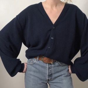 Vintage Oversized Slouchy Knit Button Sweater